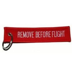 Brelok / Zawieszka do kluczy - REMOVE BEFORE FLIGHT - Czerwony