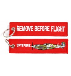 Brelok / Zawieszka do kluczy - REMOVE BEFORE FLIGHT - SPITFIRE - Czerwony