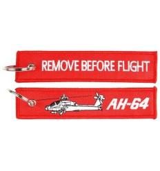 Brelok / Zawieszka do kluczy - REMOVE BEFORE FLIGHT - AH-64 - Czerwony