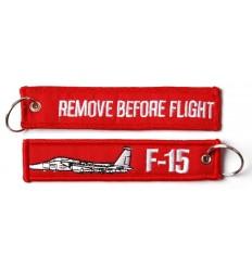 Brelok / Zawieszka do kluczy - REMOVE BEFORE FLIGHT - F-15 - Czerwony