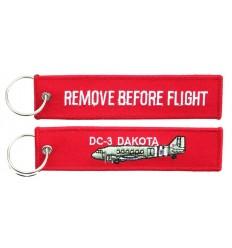 Brelok / Zawieszka do kluczy - REMOVE BEFORE FLIGHT - DC-3 DAKOTA - Czerwony