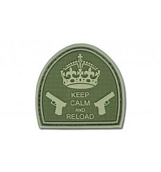 4TAC - Naszywka Keep Calm And Reload - 3D PVC - Oliwkowy