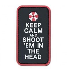4TAC - Naszywka Keep Calm and Shoot'em in the Head - 3D PVC - Color