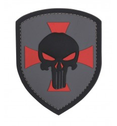 101 Inc. - Naszywka Shield Punisher Cross - 3D PVC - Szary
