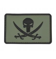 101 Inc. - Naszywka Punisher Pirate Navy Seals - 3D PVC - Zielony