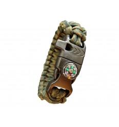 MALAMUT - Bransoletka surwiwalowa FIRE VIPER - Krzesiwo Kompas Gwizdek - Paracord 550 USA - Woodland