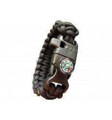MALAMUT - Bransoletka surwiwalowa FIRE VIPER - Krzesiwo Kompas Gwizdek - Paracord 550 USA - Czarny