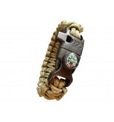 MALAMUT - Bransoletka surwiwalowa FIRE VIPER - Krzesiwo Kompas Gwizdek - Paracord 550 USA - MultiCam