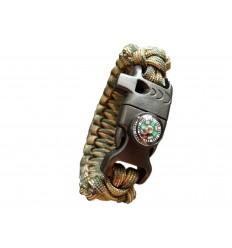 MALAMUT - Bransoletka surwiwalowa FIRE VIPER - Krzesiwo Kompas Gwizdek - Paracord 550 USA - Recon