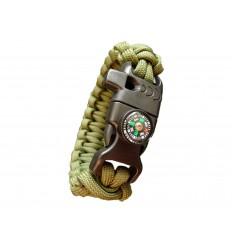 MALAMUT - Bransoletka surwiwalowa FIRE VIPER - Krzesiwo Kompas Gwizdek - Paracord 550 USA - Olive