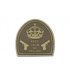 4TAC - Naszywka Keep Calm And Reload - 3D PVC - Coyote Brown