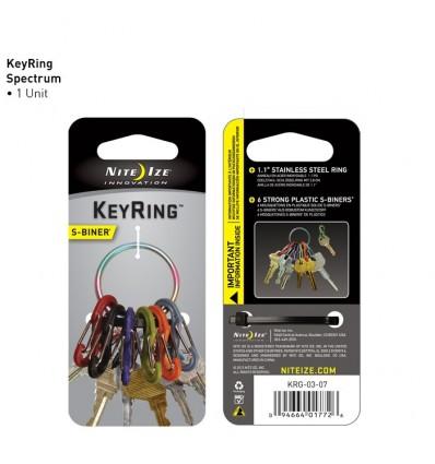 NITE IZE - KeyRing SPECTRUM - 6 karabinków z kółkiem do kluczy