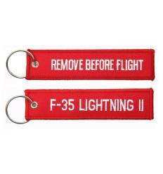 Brelok / Zawieszka do kluczy - REMOVE BEFORE FLIGHT - F-35 Lightning II - Czerwony