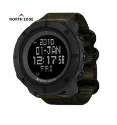 NORTH EDGE - Zegarek TANK Digital Watch - Nylon band Army Green