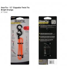 Nite Ize - Gear Tie Clippable 12'' - Pomarańczowy - Elastyczny uchwyt z karabinkiem